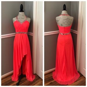 CHIFFON SEQUINED HIGH LOW HALTER BALLGOWN